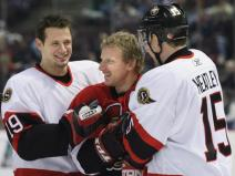Ottawa-01/28/06-L2R Ottawa Senators' Jason Spezza has some fun with Daniel Alfredsson, and Dany Heatley, at the Ottawa Senators' Super Skills Competition, held at the Scotiabank Place, on Saturday January 28, 2006. Photo by JANA CHYTILOVA, THE OTTAWA CITIZEN, CanWest news service (For SPRT section - by Panzari) ASSIGNMENT NUMBER 75090
