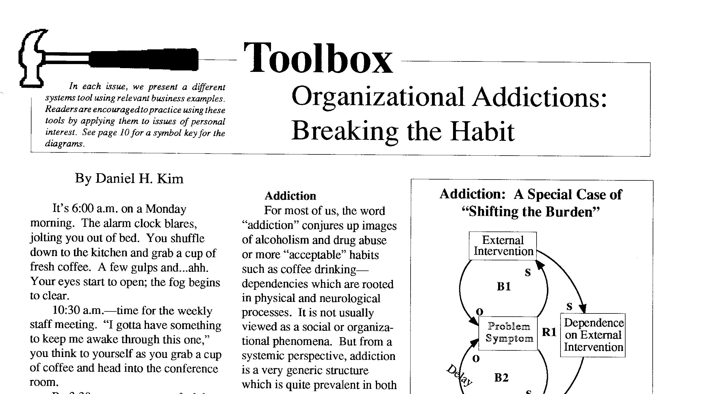 The Systems Thinker Organizational Addictions Breaking