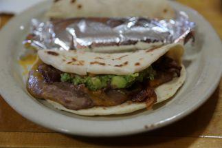 The Taco Amigo: Bean, cheese, bacon and guacamole.