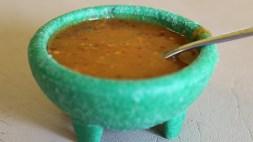 The one hot sauce at Las Sabrosas de Guanajuato.