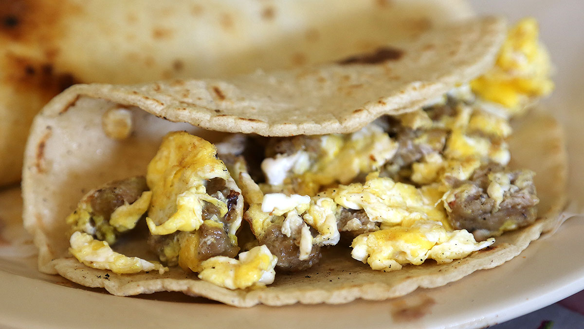 """""""Patties and egg"""" taco"""