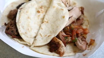 Smoked brisket and chicken tacos