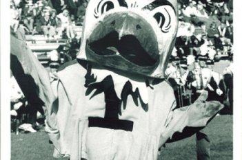 Herky looks mad at the refs. I guess we know where Fran McCaffery gets it from. (UI Archives)