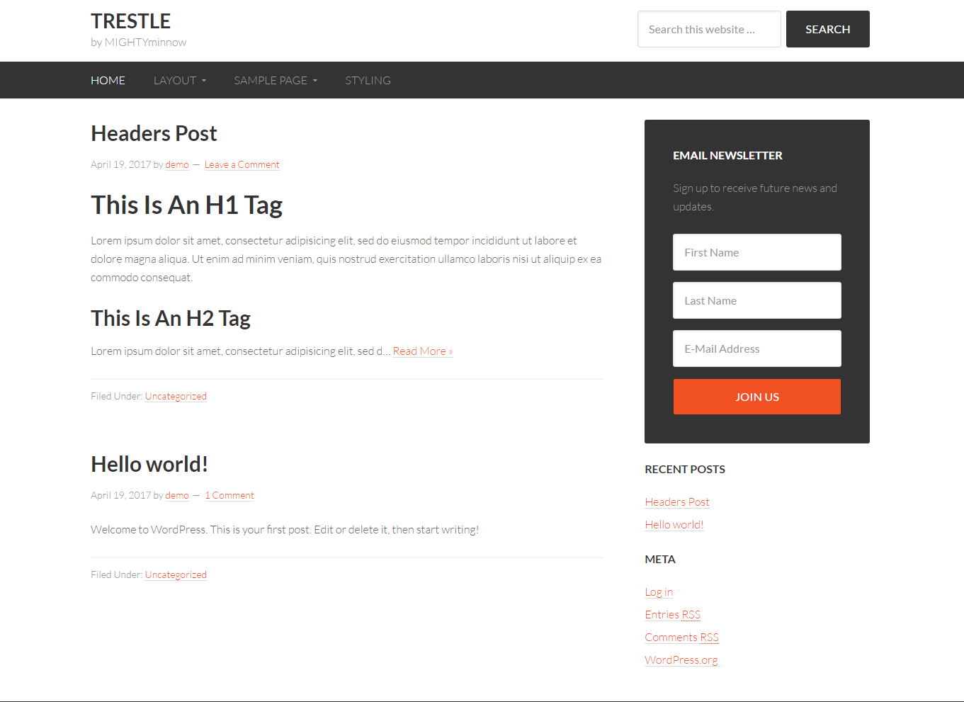 Get a free website with Trestle by Mightyminnow on Talenthost