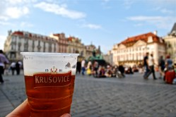 Having a beer in Old Town Square