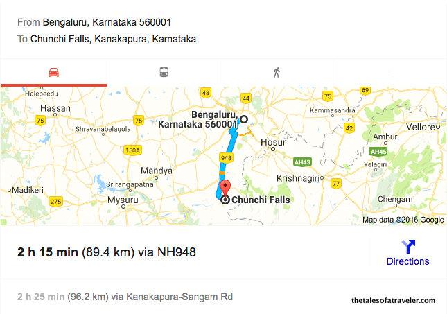 Bangalore to chunchifalls kanakpura