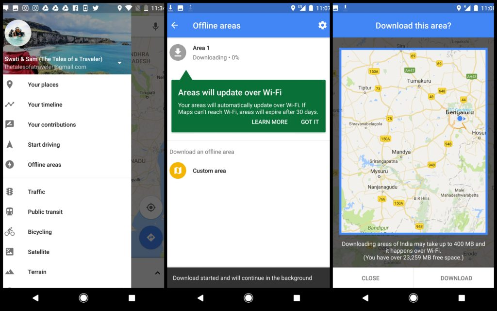Features of Google Maps App offline maps