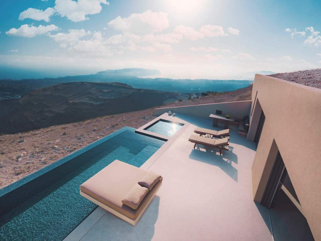Airbnb with a pool and view Santorini
