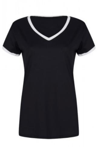 white black V-neck extra long
