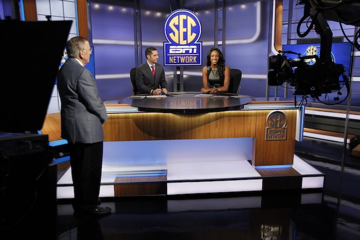 Charlotte, N.C. - August 14, 2014 - Charlotte Production Facility: Brent Musburger (l), Dari Nowkhah and Maria Taylor during the SEC Network launch.(Photo by Travis Bell / ESPN Images)