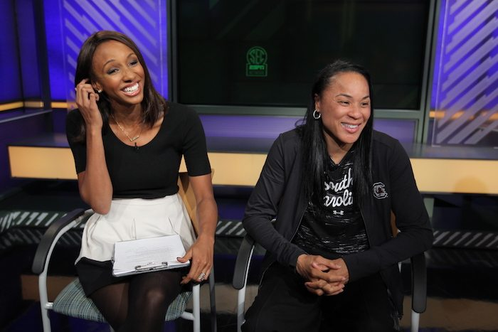 Charlotte, NC - October 22, 2015 - ESPN Charlotte Production Facility: Maria Taylor and coach Dawn Staley of the University of South Carolina Gamecocks during the 2015 SEC Women's College Basketball Media Day (Photo by Travis Bell / ESPN Images)