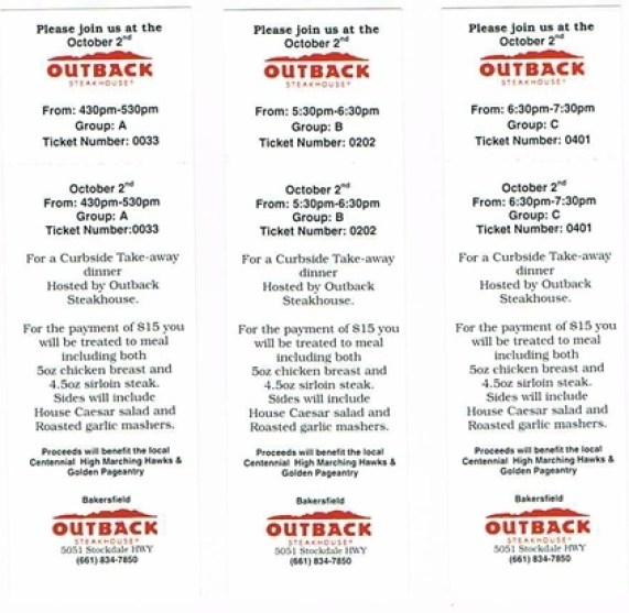 Outback Tickets 2018