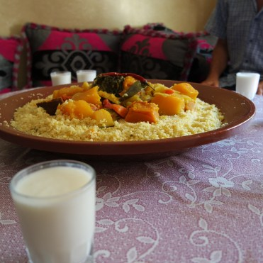 Moroccan Couscous with a glass milk