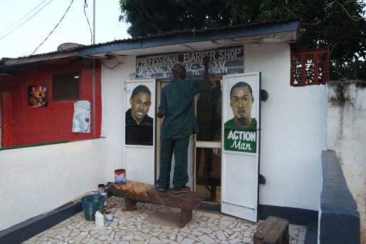 Hairdresser's saloon in Bakau, West Africa