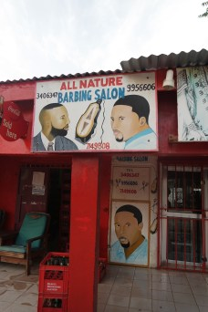 Hairdresser's saloon in Bakau, West Africa while Traveling The Gambia