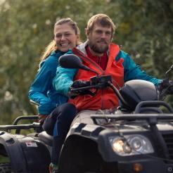 happy couple on quad