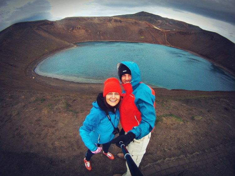 Selfie of a couple at the Myvatn lake