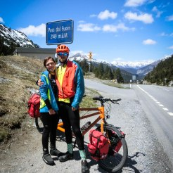 two bicycle tandem bicycle rider the Pass dal Fuorm during a Tandem Bicycle Tour