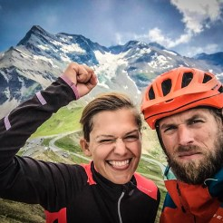 a bicycle couple in the mountains