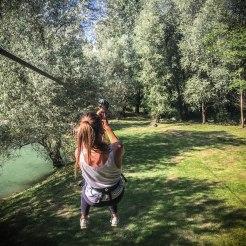 a women doing zippline