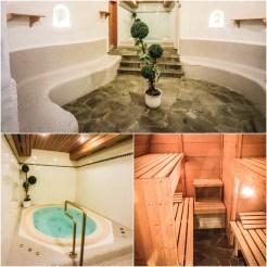 collage of sauna area