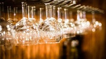 wine glasses hanging upside down