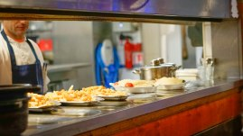 dishes lined up in the Pedra Alta restaurant