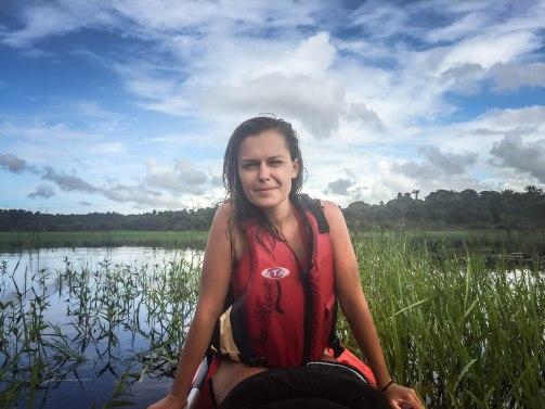 a pretty woman on a kayak