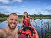 couple in 2-person tandem kayak