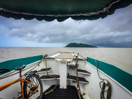 A tandem bicycle on boat on the way to Ilet la Mere in French Guiana