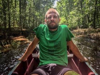 man on a canoe
