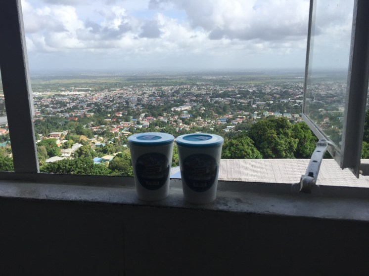 two drink on a window