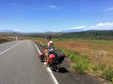 a women on a tandem bicycle / Cycling through South America