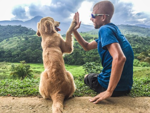 a bold man high fiveing a dog in Venezuela