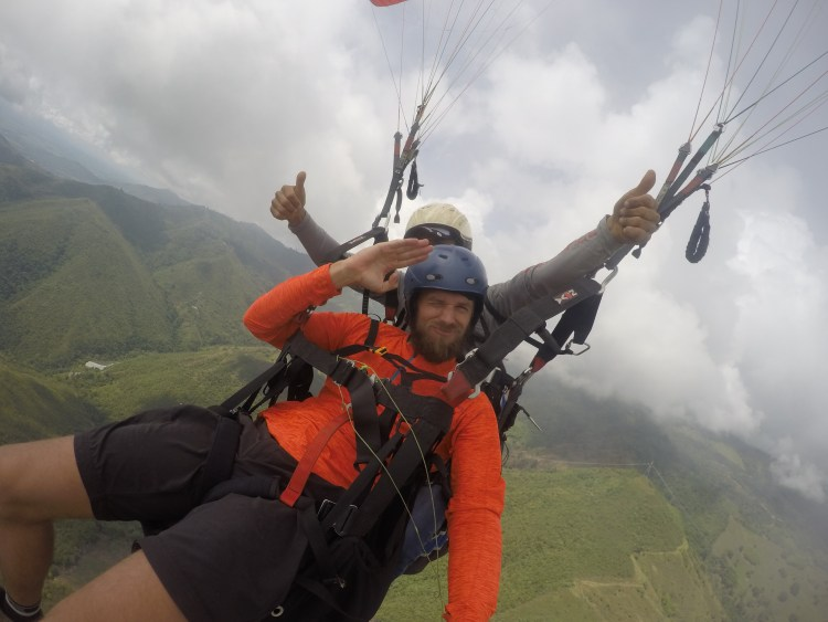 two man paragliding in Colombia