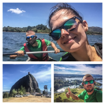 A couple kayaking in Guatapé, Colombia