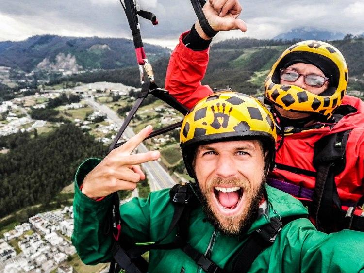 two men paragliding