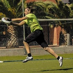 man catching a ultimate frisbee