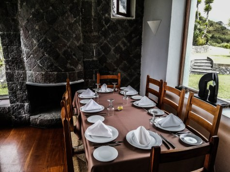 A set restaurant table in El Mirador Del Crater in Ecuador
