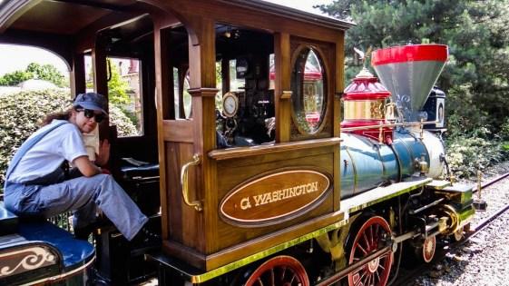 A man on the Disneyland Paris train