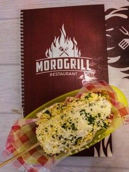 Restaurant menu with corn