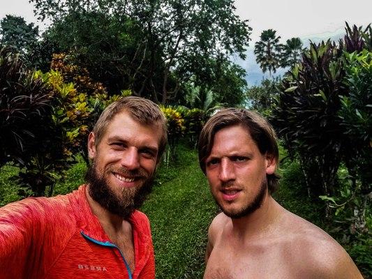 Selfie of two blonde men in the countryside of Ecuador