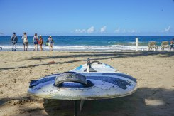 surfboard on a sandy beach in the Dominican Republic