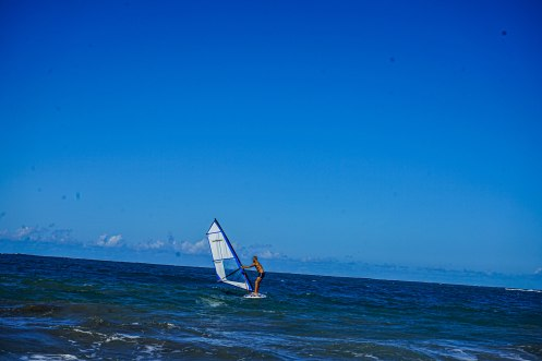 a man windsurfing in the sea