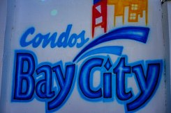Bay City Condos painted on the wall