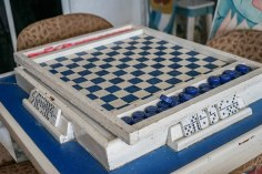 blue white chessboard