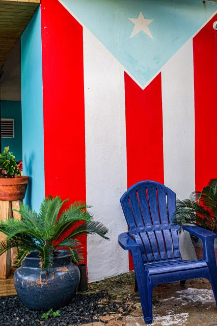 Puerto Rican flag on a wall