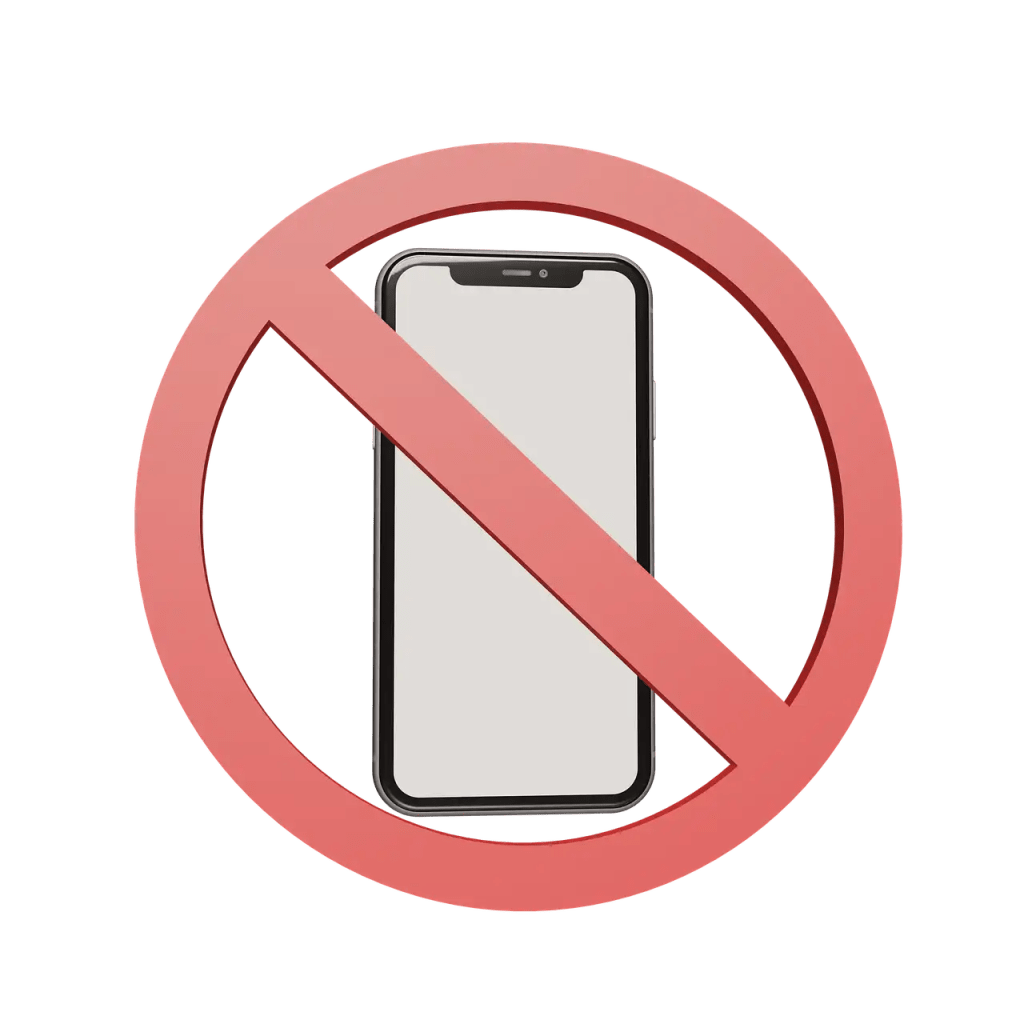 """A """"forbidden"""" sign superimposed over a cell phone."""