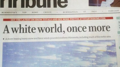 READER CHALLENGE: Can you write a headline about snow that doesn't sound as racist as the Star Tribune's?