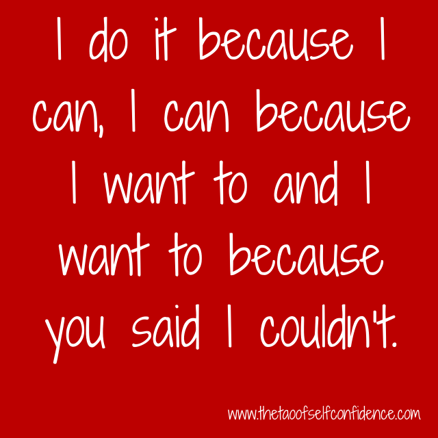 I do it because I can, I can because I want to and I want to because you said I couldn't.